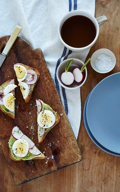 avocado radish toasts - Lively way to start your morning! Use sprouted-grain bread and add a fruit for a complete breakfast.