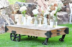 Vintage warehouse cart at a Chalk + Chalkboard and Burlap themed baptism luncheon party via Kara Allen | Kara's Party Ideas | KarasPartyIdeas.com #baptism #ldsbaptism #karaspartyideas_-30