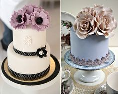 Mini Wedding Cake Ideas... Love the one on the right! white with coral, orange flowers...simple and elegent