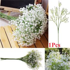 Dried Artificial Flowers White Gypsophila Wedding Party Bride Bouquet Home Decor