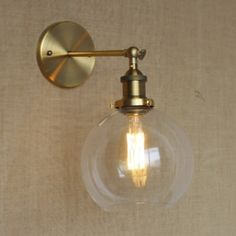 Brushed Brass 1 Light Clear Glass Mini Wall Lamp