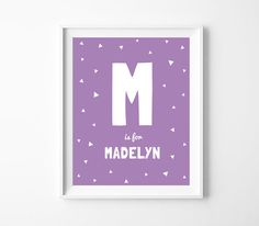 Nursery Decor Personalised Name Purple Baby Room by BabyCoStore