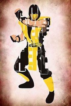 Scorpion - Mortal Kombat Print by Ayse Deniz Escorpion Mortal Kombat, Stuff And Thangs, Arte Pop, Fighting Games, Typography Poster, Poster On, Street Fighter, Comic Character, Game Art