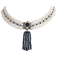 Pearl Sapphire Diamond Woven Necklace with Sapphire Bead Tassel