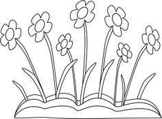 Black and White Spring Flower Patch Clip Art - Black and White Spring Flower Patch Image