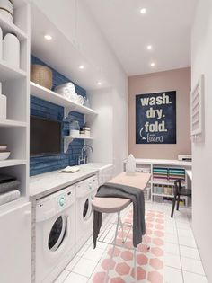 Stylish laundry room in home with Scandinavian influences