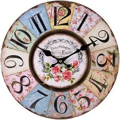 Large French Vintage Wall Clock Shabby Chic Style 34cm