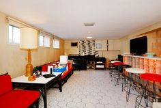 time capsule house - basement social / party room with bar