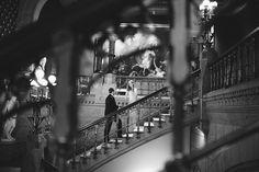Moira & Bill's Weddding: Grand Staircase of the Historic Landmark Building at the Pennsylvania Academy of the Fine Arts | Peach Plum Pear Photo