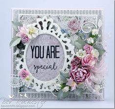 bev-rochester-whimsy-you-are, Card with flowers