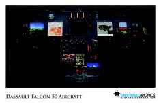 "Universal Avionics: Dassault Falcon 50 - (1) Display Suite: 5 EFI-890R 8.9"" Flat Panel Displays with one fully dedicated engine display PFD; (2) Situational Awareness: 1 Vision-1 Synthetic Vision System, 1 Terrain Awareness and Warning System (TAWS), 1 Application Server Unit (ASU) for Jeppesen charts, checklists, weather and E-DOCS; (3) Flight Management: 2 UNS-1Fw FMSs with 5"" CDUs; (4) Radio Tuning and Communications: 2 Radio Control Units (RCU)"