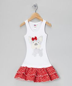 Take a look at this White & Red Polka Dot Puppy Drop-Waist Dress - Toddler & Girls by Bubblegum Diva on #zulily today!