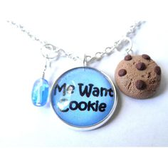 Cookie Necklace -Me Want Cookie- ($25) ❤ liked on Polyvore