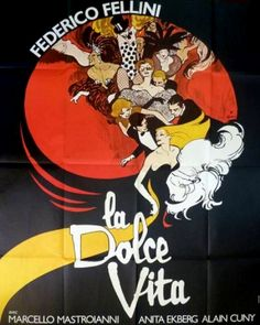 This is an original French re-release poster for the Federico Fellini masterpiece 'La Dolce Vita', starring Marcello Mastroianni, Anita Ekberg, and. Ski Posters, Cinema Posters, Travel Posters, Movie Posters, Marcello Mastroianni, Vintage Movies, Vintage Posters, Vintage Labels, Vintage Ads