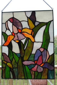 Stained Glass Panel with Flowers