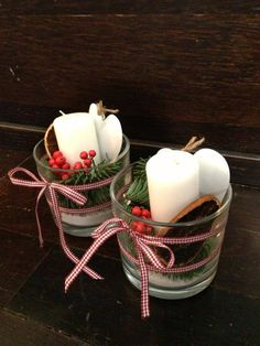 Christmas candles in vases: with heart and vegetable decoration.