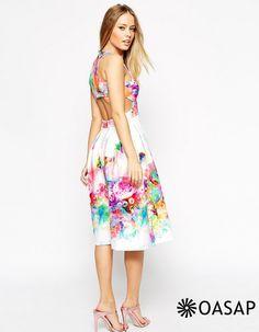 Colorful Cutout Floral Swing Dress m.OASAP.com