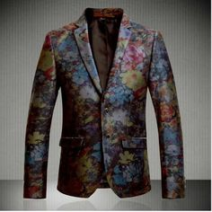 2014 New Arrival Floral Spring Summer Designer Brand Casual Men Fashion Slim Fit two Buttons Blazer Suit Jackets S5762-in Blazers from Appar...