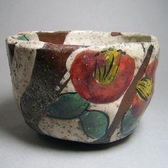 白釉紅椿茶碗