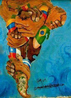 Estamos Unidos in Latinoamerica Latin America Map, South America, Latina Tattoo, Arte Latina, Latino Art, Chicano, Art Sketchbook, Urban Art, American Art