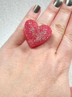 Glittery red resin heart ring with adjustable by MinnieandSox, €12.00