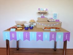 Housewarming party Decorations | photos: house warming party. - boxes for height variation on table/counter.