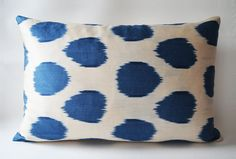 On Sale  pillow cover ikat navy blue ivory  throw pillow by sukan