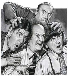 Here's a stunning Drew Friedman fine art print of The Three Stooges (with Shemp) and recurring nemesis Vernon Dent. Limited edition of 35 numbered prints signed by the artist. The Stooges, The Three Stooges, Mejores Series Tv, Classic Comedies, Celebrity Caricatures, Celebrity Drawings, Laurel And Hardy, The Lone Ranger, Old Tv
