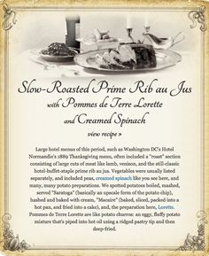 Washington DC's Hotel Normandie's 1889 Thanksgiving menu via Chow.com