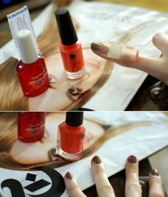 Use Band-Aids (the sheer kind) to get perfect French tips - great idea!