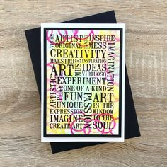 Card by Rachel Greig Word Block, Creativity Quotes, Cool Art, Stamps, Abstract, Words, Creative, Projects, Fun