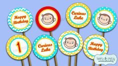 Curious George Party Cupcakes  Curious George Birthday Cupcake Toppers & Wrappers by HeartsandCraftsy