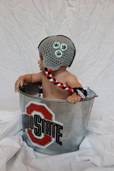 Handmade Baby OSU Helmet Hat Ohio State Scarlet by FANaticHATS