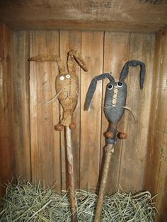 Bunny make-do sticks, crock pokes