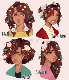 WHICH IS YOUR FAV FOR FLOWER GIRL?! (You can add why its your fav but you dont have to) i love doing these hairstyle things way too much, i sometimed end up liking another hairstyle for my oc to be honest  i also wanted to do a male oc next but wasn't that inspired.  #pandastrophic_oc #digitalart #كلنا_رسامين