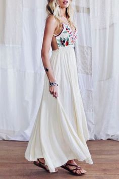 Spaghetti Strap Backless Floral Print Maxi Dress