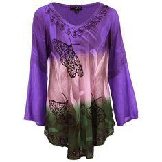 Appreciate the fluttering charm of this graceful butterfly tunic. This dreamy top is wrinkle resistant, making it an excellent travel companion. Hand-printed and accented with sequins and embroidery at the hem and neckline.