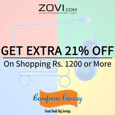 Get extra 21% off when you buy for 1200 or more at #Zovi! Claim Now : http://www.couponcanny.in/zovi-coupons/