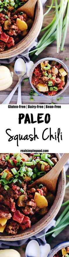 There is something comforting and warming about a good chili, and we love this Paleo squash chili because it is full of fall flavors and textures, including winter squash, peppers, onions and tomatoes. Paleo, Gluten-Free, Dairy-Free + Bean-Free. | realsimplegood.com
