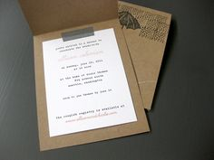 What a great way to make invitations more personal. Rubber stamps, washi tape, kraft paper, and typewriter font.