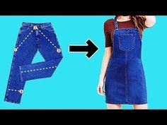 Diy - Very Easy Salopete Gardenerdiy E Easy Diy Jeans, Diy Shorts, Refaçonner Jean, Girls Denim Jacket, Diy Clothes Refashion, Diy Kleidung, Diy Mode, Vetement Fashion, Denim Overall Dress
