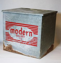VINTAGE MILK COOLER - retro insulated metal Modern Dairy box for home delivery, bar / storage (c. 1960s-70s). $30.00, via Etsy.