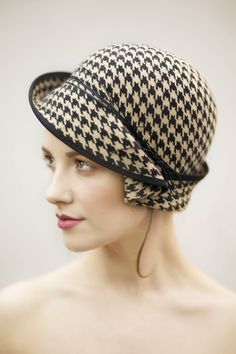 Houndstooth check cloche hat with fine leather trim #millinery #hats #accessories https://www.etsy.com/uk/shop/MaggieMowbrayHats