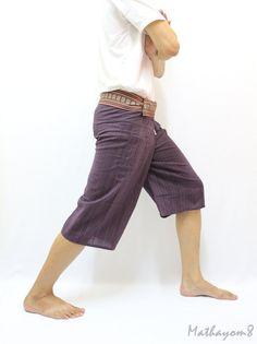Violet Eggplant 3/4 Thai Fisherman Pants With Thai Hand Woven Fabric on Waist Side,Unisex Pants ,Wide Leg Pants,Yoga Pants,Maternity Pants