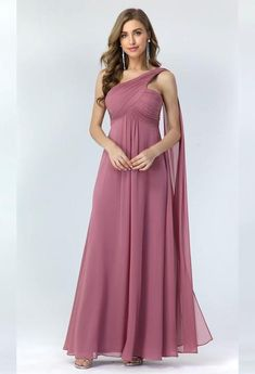 Pleated Chiffon One Shoulder Long Evening #Dress #weddingdress #wedding