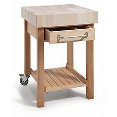 Arbeitsplatte Ahornholz geseift, Gestell und Schubkasten Buchenholz. Schubkasten mit kugelgelagertem und... - Mobiler Küchenarbeitsplatz