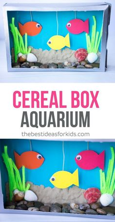 This Cereal Box Aquarium kids craft is so much fun to make! Use sea shells, stones, sand, pipe cleaners and make fish to create your own aquarium! via kids crafts Cereal Box Aquarium Craft Activities For Kids, Cute Crafts, Preschool Crafts, Diy Crafts For Kids, Arts And Crafts For Kids Toddlers, Kids Craft Projects, Easy Toddler Crafts, Daycare Crafts, Kids Diy