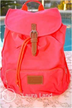 Victoria Secret PINK BACKPACK BEACH BAG NEON CORAL Tote Carry On PURSE~NWT CUTE