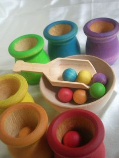 "(Dr. Montessori would not call this a ""TOY"", it would be ""WORK"" or ""MATERIALS"" )Montessori Toy Rainbow Matching and Sorting Game in a Tin Box. This may be purchased on ecovolvenow.com."