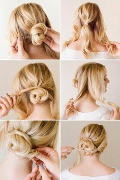 chignon facile à faire sur cheveux longs